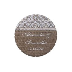 Simple Burlap and Lace Custom Wedding Favor Jelly Belly Candy Tins
