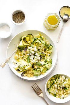 Zucchini and Fresh Corn Salad with Lemon-Basil Vinaigrette | foodiecrush.com...will  omit the  garlic