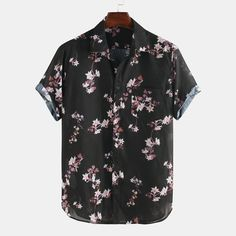 Flowers Printed Breathable Loose Short Sleeve Lapel Shirt is designer and cheap on Newchic. Loose Shorts, Casual Shirts, Men's Shirts, Shirt Style, Shirt Designs, Short Sleeves, Mens Tops, Clothes, Printed