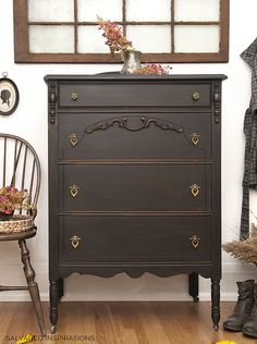 Caviar Style Vintage Dresser Makeover - Salvaged Inspirations