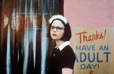 Ghost World// i love the scene in Ghost World at the end when Enid is waiting for the bus. It would be perfect if there wasn't a flashing light in the apartment window in the scene