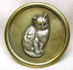 Antique Brass Picture Button Pretty Sitting Cat Design 1 7 16""