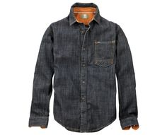 Premium organic cotton-blend denim in heritage washes gives these men's shirts a handsome, masculine look. Cut for a slim fit, we love this denim shirt paired with khakis and Timberland® oxfords or chukkas.