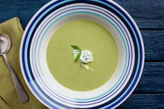 Silky smooth and a lovely pale shade of green, this is the soup to serve in starter-size portions at an elegant dinner party. Gourmet Recipes, Soup Recipes, Healthy Recipes, Brunch Recipes, Keto Recipes, Elegant Dinner Party, Asparagus Soup, Gluten Free Chicken, Fish And Seafood