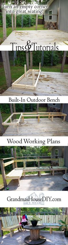 Out door bench plan built into a corner of a green treated deck, wood working, tips and tutorials, how to, diy, do it yourself, backyard, outdoor project #backyardbenchtutorials