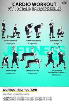 Six exercises using dumbbells. 3 to 4 rounds. Workout should take you about 30 minutes to complete. If you don't have a bench, you can do the chest presses lying on the floor. Side Workouts, Hiit Workouts For Men, Full Body Workout At Home, Cardio At Home, Workout Routine For Men, Hiit Workout At Home, Workout Plan For Beginners, At Home Workouts, Lifting Workouts