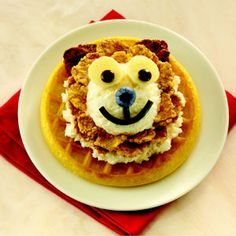 This playful lion roars with good flavors--Eggo® Homestyle waffle, Breyers® French Vanilla Ice Cream and banana slices.