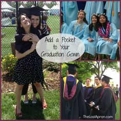 Graduation has come.  Make sure you have your phone with you.  Don't miss the photo opportunities with your friends.  Be able to hashtag your photos to the jumbotron. Text your family to find out where they are sitting. Adding a pocket to your graduation gown can make access to your phone easy. The Lost Apron