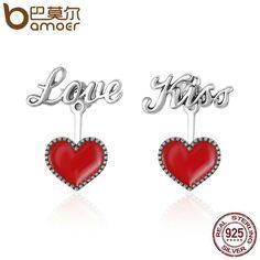 925 Sterling Silver Red Hearts Love Coffee Cup Kids Girls Women Stud Earrings