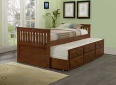 Maximize your space by adding this Mission Captains Bed in Twin with 3 Underbed Storage Drawers Plus Trundle bed. The 100-percent solid pine construction and simple, but refined design make this trund