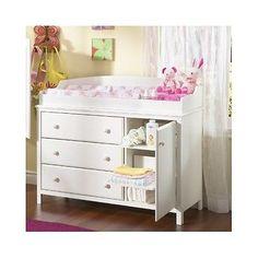 White Drawer Baby Changing Table Infant Diaper Nursery Dresser Shelves Station