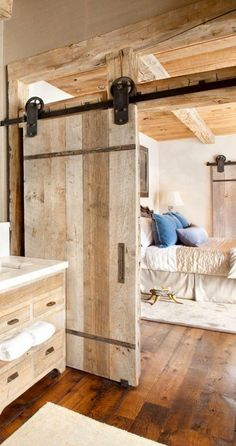 Barn doors today are becoming part of interior decoration in many houses because they are stylish. When building a barn door on your own, barn door hardware kit The Doors, Wood Doors, Sliding Doors, Entry Doors, Front Doors, Timber Door, Front Entry, Rustic Bedroom Design, Master Bedroom Design