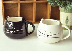 Male and Female Kitty Cat Couple Mugs