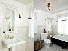 purty bathroom. i like the white walls and dove grey ceiling, wainscotting, and trim. the tile floor is perfection.