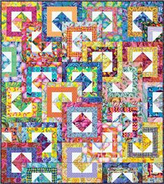 For patchwork anbd quilting : All Stacked up - Kaffe Fassett Collective - All Stacked up - Kaffe Fassett Collective Designed by Linda and Carl . Strip Quilts, Scrappy Quilts, Mini Quilts, Bed Quilts, Batik Quilts, Easy Quilts, Quilt Block Patterns, Quilt Blocks, Sewing Patterns