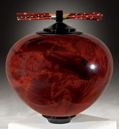 "*Wood Sculpture - ""Redwood Burl Lidded Vessel with Ebony, Brass and Salt Cedar Accents"" by Kim Blatt"