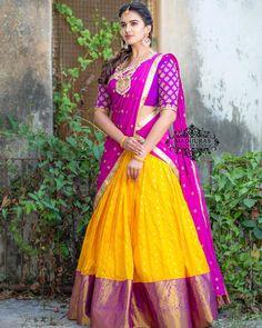 Here is Subhaprada collection - Series of lehengas from Madhuras designer studio. Lehenga Saree Design, Half Saree Lehenga, Pattu Saree Blouse Designs, Lehnga Dress, Silk Lehenga, Lehenga Designs, Ghagra Saree, Ikkat Pattu Sarees, Lehenga Skirt