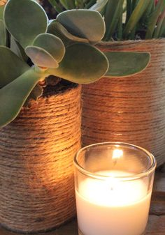 Jute Wrapped Tin Cans for all those clippings and new plants!