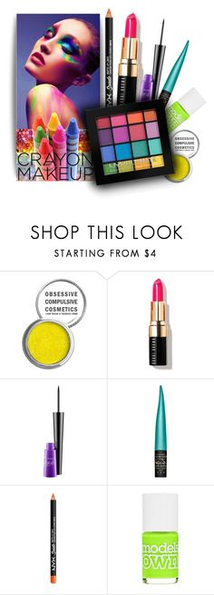 """""""Neon/Crayon Makeup"""" by thewovenwolf ❤ liked on Polyvore featuring beauty, Obsessive Compulsive Cosmetics, Bobbi Brown Cosmetics, MAC Cosmetics, NYX, Models Own, Color, makeup and crayola"""