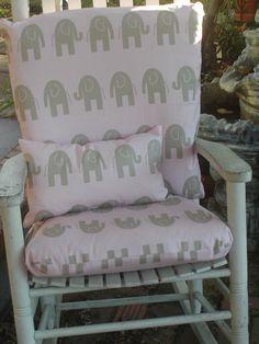 Tufted Custom Rocker or Rocking Chair Cushion Set in White Grey