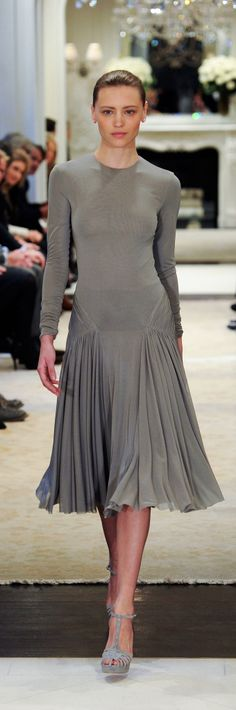 Ralph Lauren Pre-Fall 2014 RTW - grey jersey afternoon dress