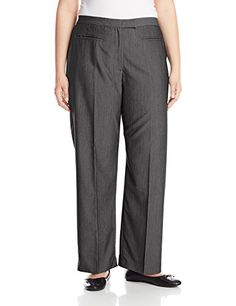 Women's Plus-Size Plus Flat Front Easy Stretch Pant: A flat front, easy stretch pant with side elastic waist, tab closure and faux front pocket detailing. A classic full length pant that is perfect for both professional and casual wear. Easy Stretches, Pantsuits For Women, Plus Size Pants, Pants For Women, Clothes For Women, Pants Pattern, Stretch Pants, Casual Wear, Plus Size Outfits
