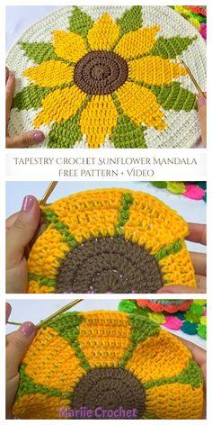 Tapestry Crochet Patterns, Crochet Sunflower, Crochet Mandala Pattern, Embroidery Flowers Pattern, Crochet Flower Patterns, Crochet Designs, Crochet Stitches, Sunflower Mandala, Sunflower Pattern