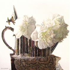 Happy New Year Fresh Peonies in Edwardian Silver Teapot with Antique Lace Still Life Oil Painting, painting by artist JEANNE ILLENYE
