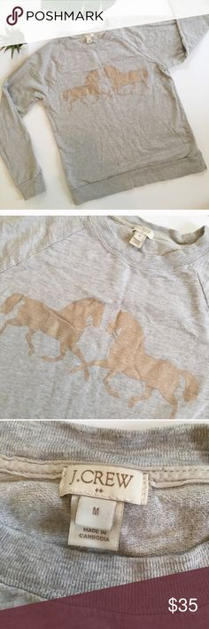 J. Crew Gray Metallic Gold Horse Crew Sweatshirt Cute gray J. Crew Crewneck thin light Sweatshirt with metallic gold horses graphic. Good used condition. Adorable and perfect for fall! J. Crew Tops Sweatshirts & Hoodies