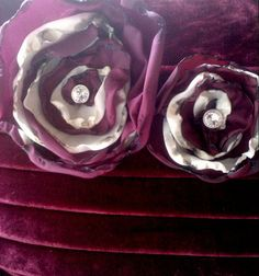 Red Velvet Decorative Pillows with Taffeta Roses in Deep Plum and Cream