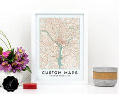 Custom City Map Wall Art, High Quality Printable Map Of Any City Map, Custom Map Digital Print, Personalized Map, Custom Map Poster Printable Maps, Printable Wall Art, Map Wall Art, Wall Art Prints, Handmade Market, Custom Map, Map Design, City Maps, Digital Prints