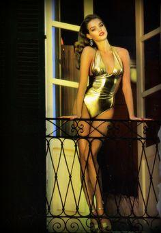 Vintage Versace halter neck bathing suit in gold