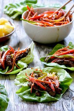 Spicy Pineapple Beef Lettuce Wraps | www.floatingkitchen.net