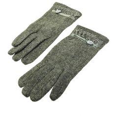 Gray Flower Lace Gloves - Wool Blend Velvet Floral Lace
