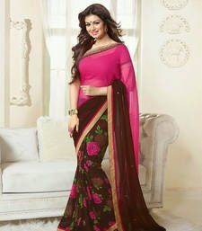 Buy  NEW ATTRACTIVE BROWN AND PINK DESIGNER SAREE designer-embroidered-saree online