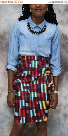 10%OFF African print classy pencil skirt african by HouseOfIzzi