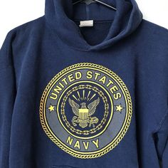 e252a0e917a8 Vintage Navy Hoodie Sweater Made In USA Size Medium Men Or Women