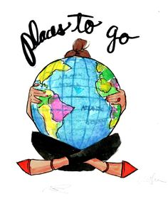 Places to go - cute illustration Places To Travel, Places To See, Travel Destinations, Travel Qoutes, Wanderlust, I Want To Travel, Future Travel, World Traveler, Travel Around