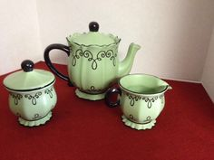 Chaleur Tea Pot, Creamer, And Sugar Bowl With Lid  Mint Green Set Rare