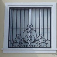 Love this for magere windows. Maybe we can repeat up and down Wrought Iron Security Doors, Wrought Iron Decor, Window Grill Design Modern, Window Design, Iron Windows, Iron Doors, Gate Design, Door Design, Iron Window Grill