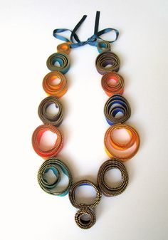 Textile Zipper Necklace Oversize Statement Colors by catrinel777