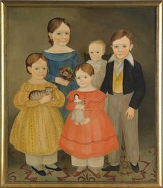 "Jeanne Davies (American, b. 1936), oil on canvas folk portrait of a family, 35"" x 30""."