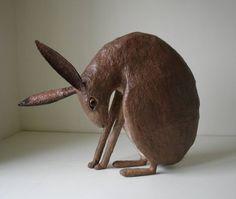 Animalarium: Sunday Safari - March Hares, this papier maché by Nicky Clacy Rabbit Sculpture, Sculpture Art, Ceramic Animals, Ceramic Art, Illustrations, Illustration Art, Lapin Art, Rabbit Art, Rabbit Crafts