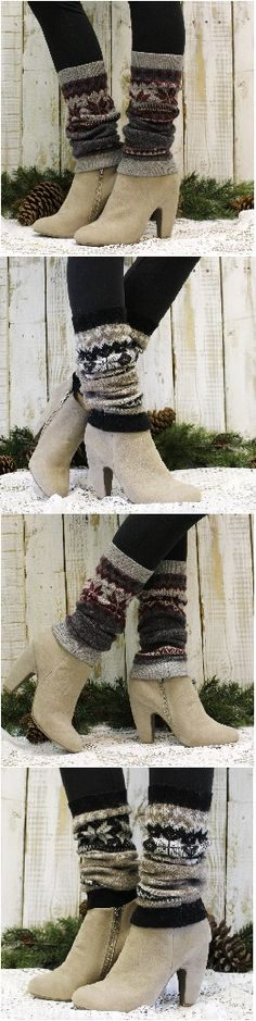 Snowflakes and Cashmere! Leg warmers for Fall and Winter! by Catherine Cole Studio FREE USA SHIPPING!
