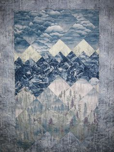 Snowy Mountains Art Quilt Wall Hanging by TahoeQuilts on Etsy, $268.00