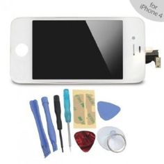 iPhone 4S LCD + Touch Screen Glass Digitizer Assembly Replacement + Back Cover Case + 8 Piece Repair Tool Kit White