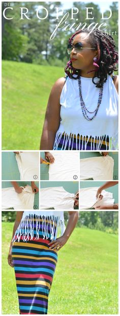 diy fringe cropped top from t-shirt, refashion clothes, t-shirt refashion