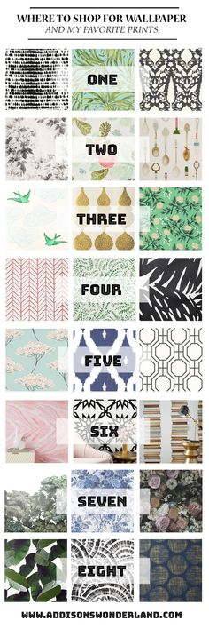 My Top 8 Places to Shop for Wallpaper & My Favorite Patterns... Sharing the stores where I find the best wallpaper and the prints I am currently loving!
