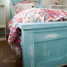 Turquoise farm house/coastal cottage bed. Love. For the dining room table.