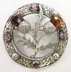 Silver Scottish Thistle Pin with Amethyst and Citrine Stones Jewelry Art, Antique Jewelry, Vintage Jewelry, Victorian Jewelry, Tartan, Plaid, Scottish Fashion, Scottish Thistle, Vintage Brooches